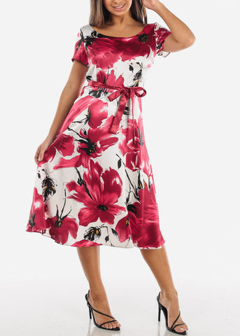 Image of Red Floral Belted A-Line Dress