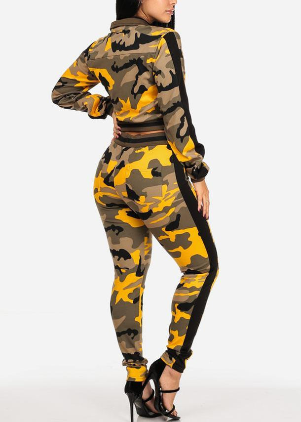 Yellow Stretchy Camo Cropped Jacket W Pants (2 PCE SET)