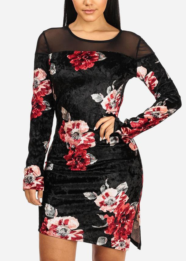 Black Floral Side Slit Dress