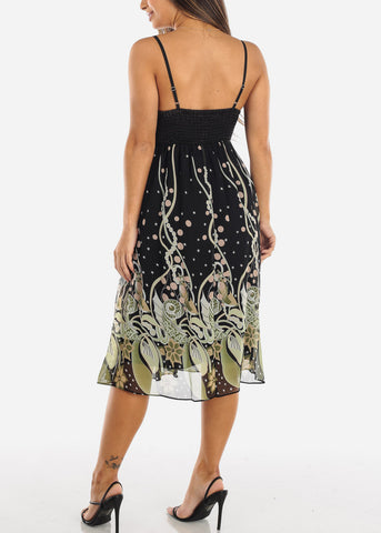 Image of Black and Green Spaghetti Strap Dress