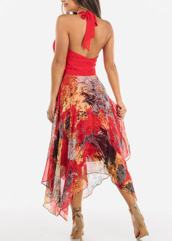 Image of Red Halter Asymmetric Dress 15045RED