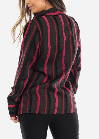 Image of Black Striped Button Down Blouse