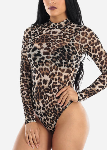 Animal Print See Through Bodysuit