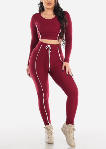 Burgundy Sporty Crop Top & Pants (2 PCE SET)