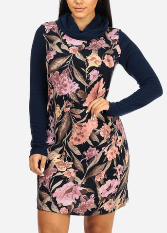 Image of Navy Floral Print Stretchy Dress