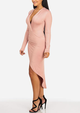 High Slit Long Sleeve Peach Dress