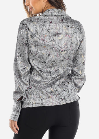Grey Wrap Front Crinkled Blouse