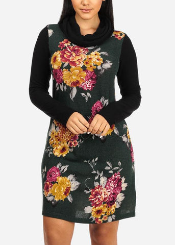 Green Cowl Neck Floral Shift Dress