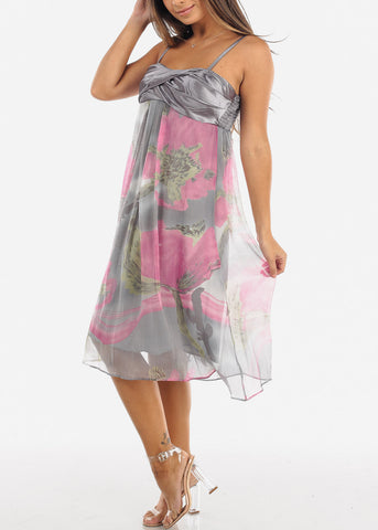 Image of Grey Floral Spaghetti Strap Dress
