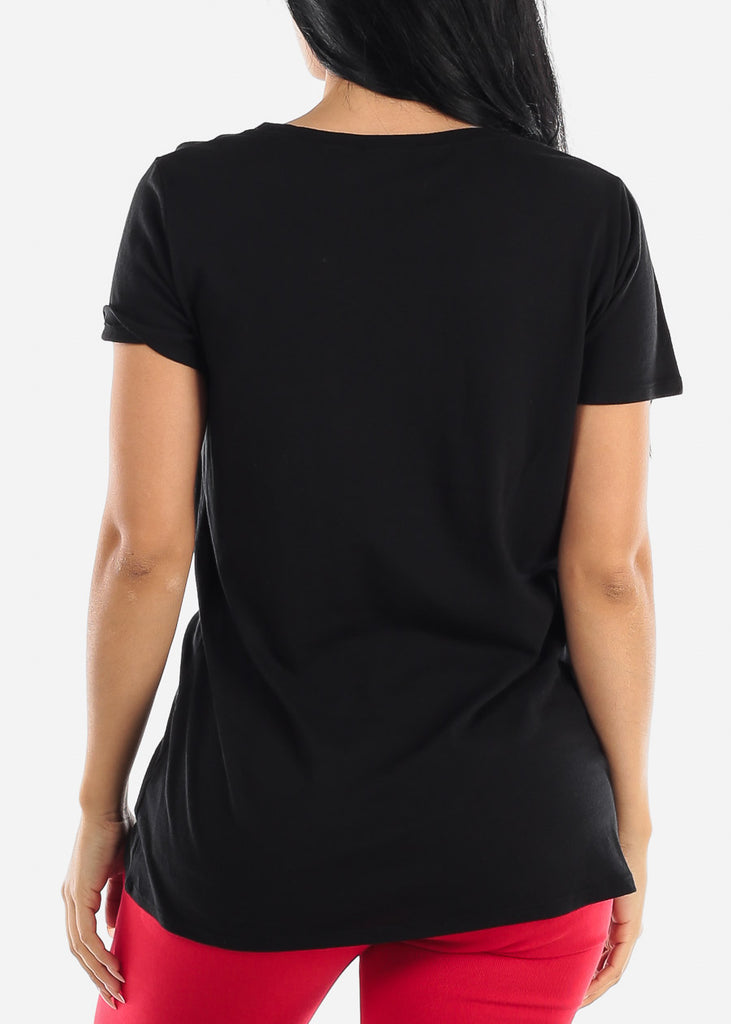 "Black Graphic Tunic Top ""This Is My Morning T-Shit"""