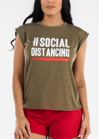 "Image of Olive Graphic Top ""Social Distancing"""