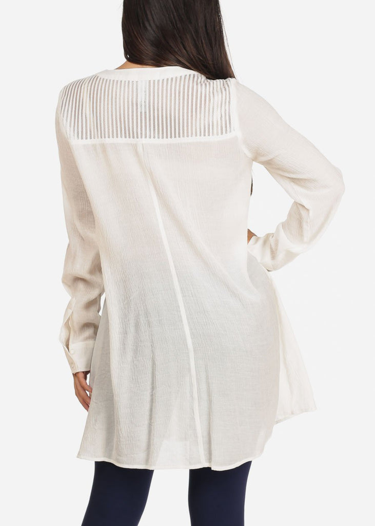 Women's Junior Ladies Casual Lightweight Long Sleeve Button Up Solid White Tunic Top