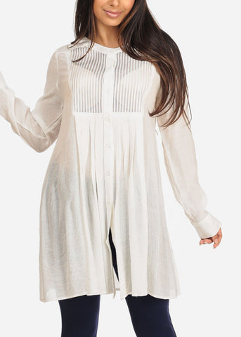 Image of Women's Junior Ladies Casual Lightweight Long Sleeve Button Up Solid White Tunic Top