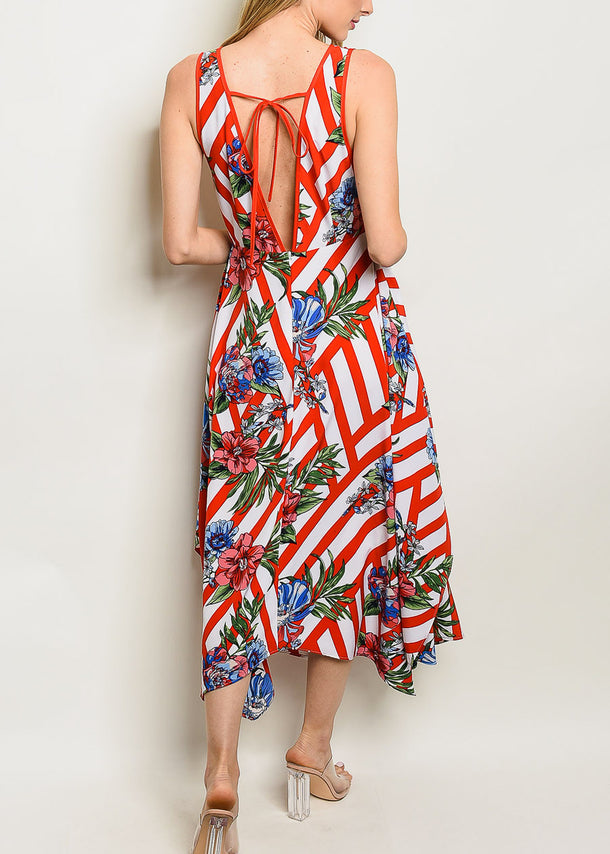 Red Floral & Stripe Maxi Dress