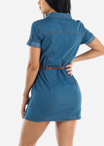 Half Button Up Light Wash Denim Dress