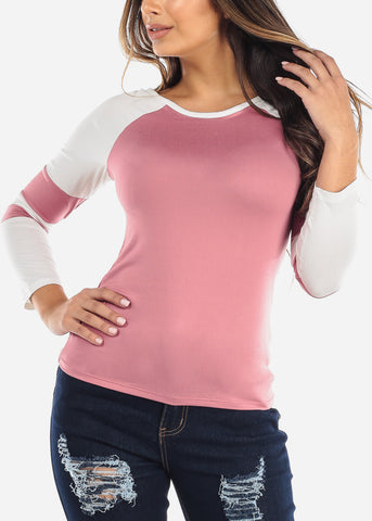 Pink & White Long Sleeve Top