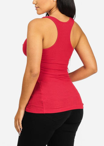 Image of Red Sleeveless Racerback Tank Top