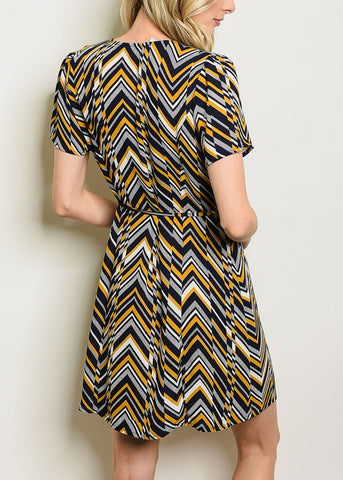 Image of Button Up Zig-Zag Navy Dress