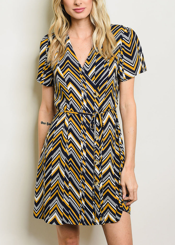 Button Up Zig-Zag Navy Dress