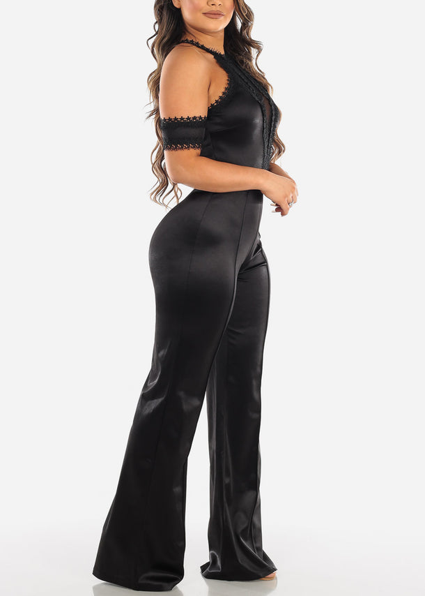 Cold Shoulder Black Halter Jumpsuit