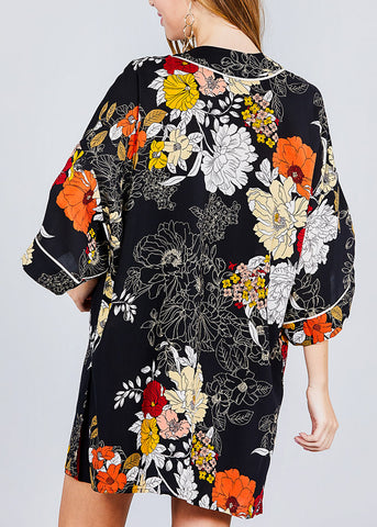 Image of Open Front Black Floral Kimono