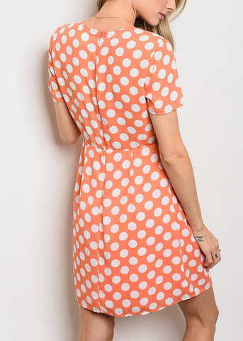 Image of Orange Polka Dot Mini Dress