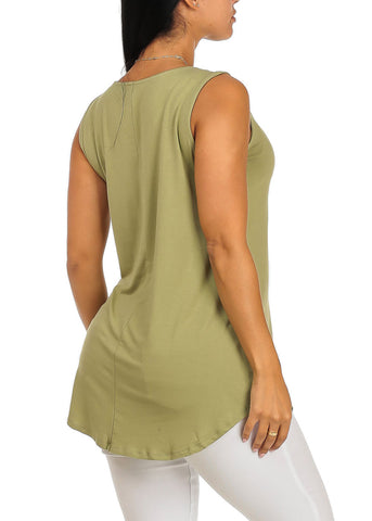 Image of Sleeveless Light Green Stretchy Socialite Graphic Print Tee Tank Top