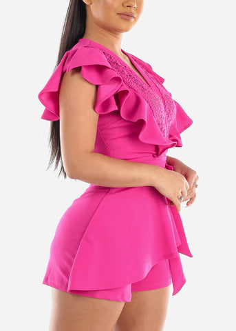 Sexy Ruffle Sleeves Attached Tie Skirt Overlay Fuchsia Romper With Crochet Design Party Night Out