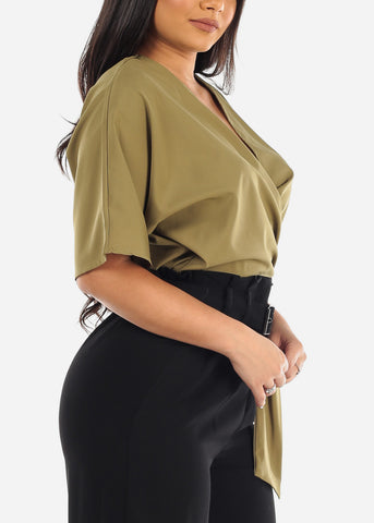 Sexy Wrap Front Olive Lightweight Crop Top For Women Ladies Junior