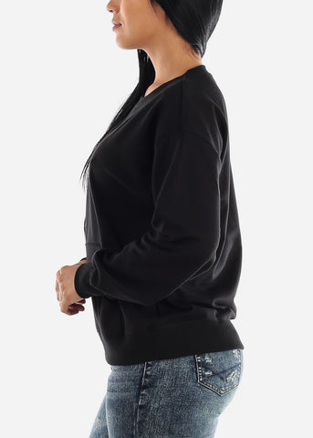 Image of Oversized Crew Black Sweatshirt
