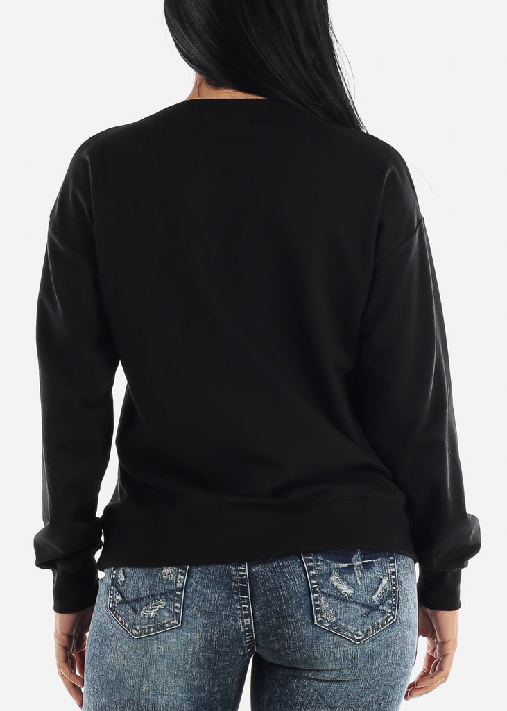 Oversized Crew Black Sweatshirt