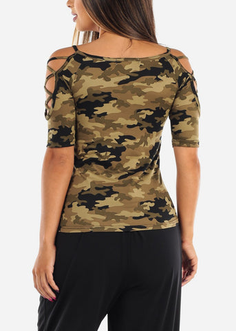 Women's Junior Ladies Casual Strappy Lace Up sleeves Stretchy Camouflage Top