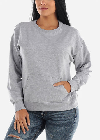 Image of Oversized Crew Grey Sweatshirt