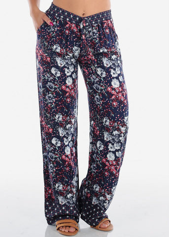 Image of Casual High Rise Navy Floral Pants