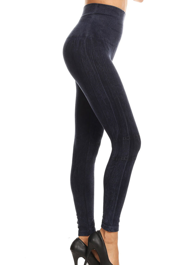 Faded High Rise Cotton Navy Seamless Leggings