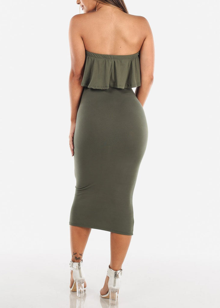 Strapless Bodycon Midi Dress Olive