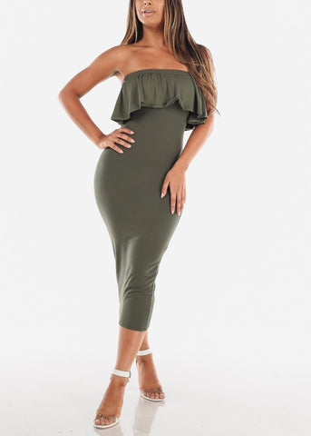 Image of Strapless Bodycon Midi Dress Olive