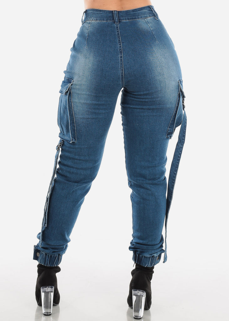 High Rise Med Blue Wash Cargo Jeans