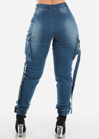 Image of High Rise Med Blue Wash Cargo Jeans