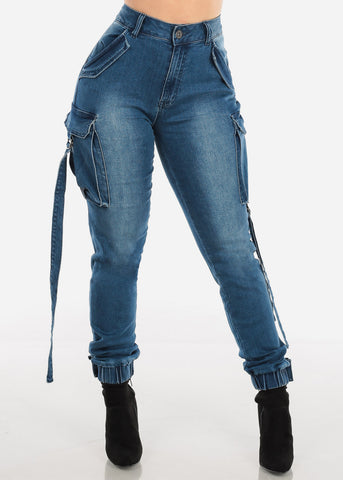 Image of Medium Wash Denim Cargo Pants