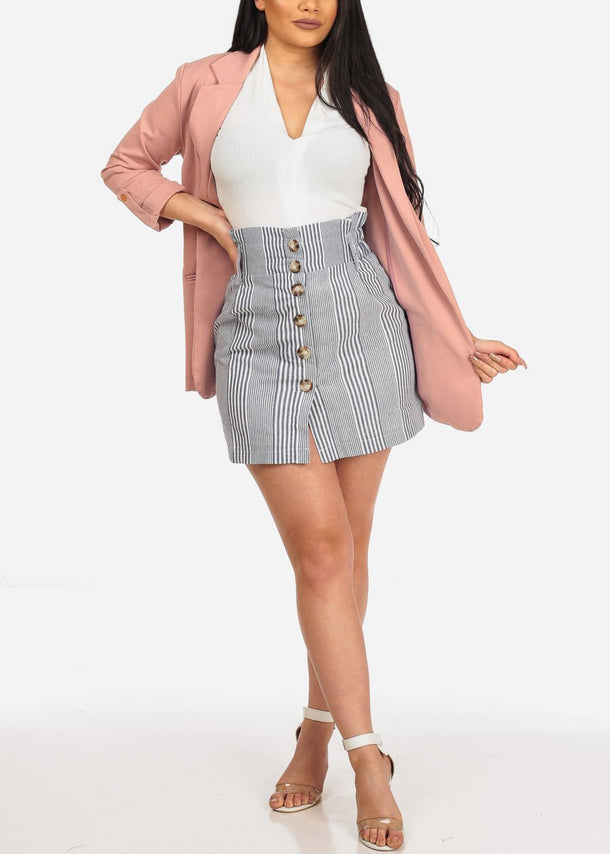 Grey Striped Button Down Mini Skirt