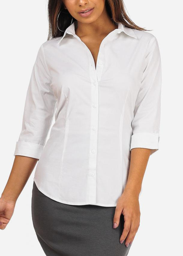 Office Business Wear Button Up 3/4 Sleeve White Shirt Top