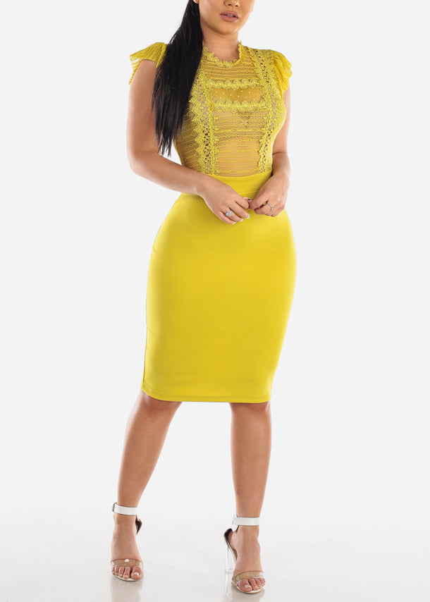 Yellow Midi Dress with Lace Design