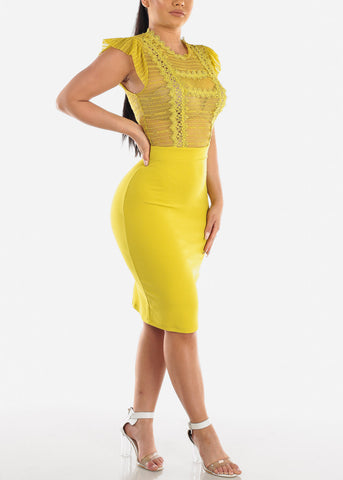 Sexy Partial Floral Lace Short Sleeve Lime Green Bodycon Midi Dress For Women Ladies Junior Clubwear Night out