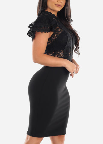 Image of Partial Floral Lace Short Ruffle Sleeves Mesh Black Bodycon Midi Dress