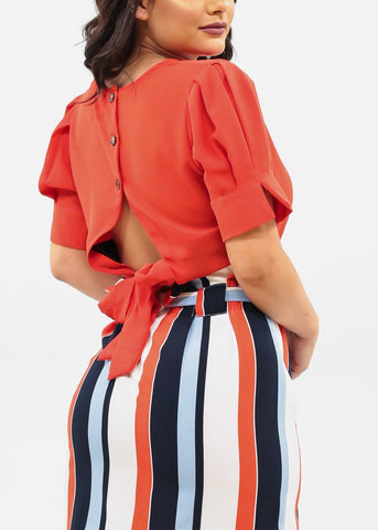 Image of Red Dressy Crop Top