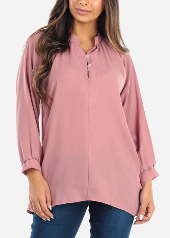 Image of Pink Two Button Blouse