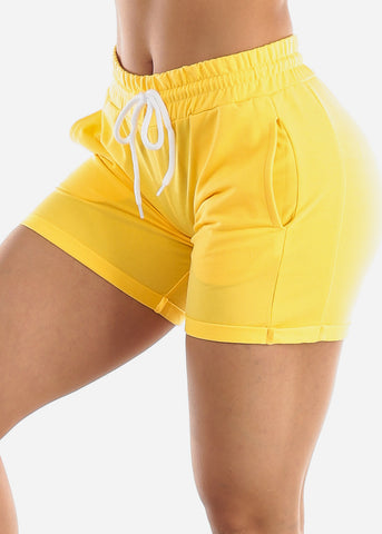 Image of Yellow Drawstring Biker Shorts