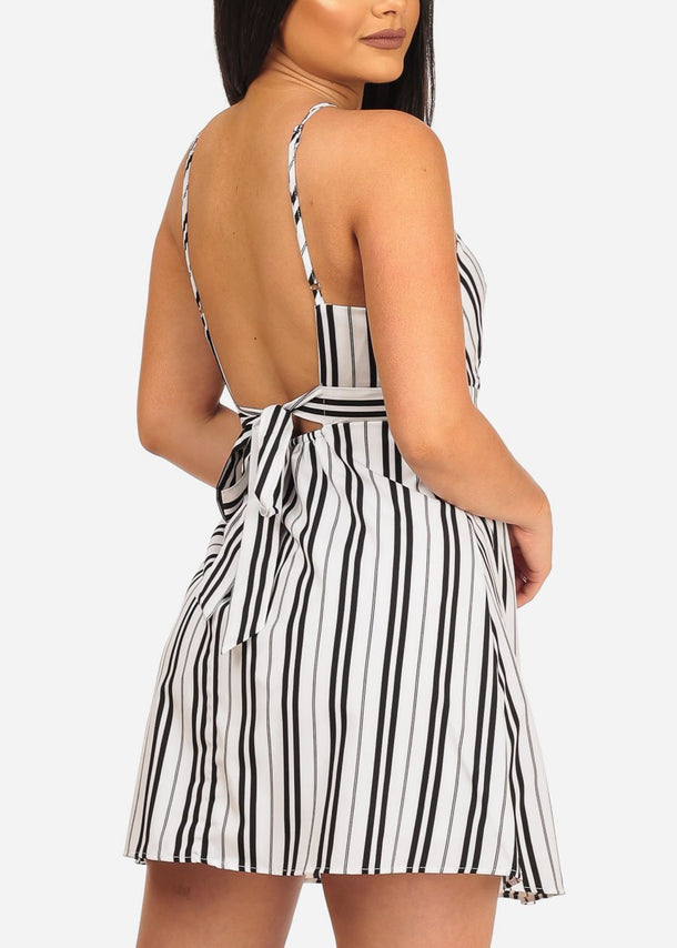 Striped White Criss Cross Dress