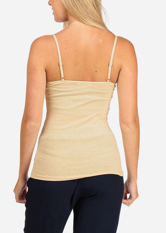 Image of Women's Junior Essential Solid color Stretchy Under shirt Camisole Adjustable Spaghetti Strap Taupe Khaki Shirt Tank Top
